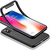 HICASER iPhone X 360 Gradi Custodia + Pellicola Vetro Temperato Full Body Ultra Sottile Morbido TPU Antiscivolo Protettiva Case per iPhone X Nero