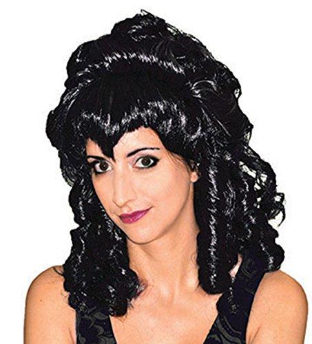 Fancy Ole - Damen Frauen Vampir Aristokraten Perrücke - Halloween Locken Hexen Haar, Schwarz (Mädchen Hexe Hut Mit Schwarzen Haaren)