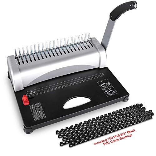 Bindegeräte Spiralbindung 21-Loch, 450 Blatt, Punch Binder mit Starter Kit 100 PCS 3/8 '' PVC-Kammbindungen, Kammbindemaschine Scrapbook für Büros und im Heimgebrauch (Spiralbindung-maschine)