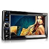 XOMAX XM-2DTSBN6222 Autoradio / Moniceiver / Naviceiver mit GPS Navigation + Navi Software inkl. Europa Karten (38 Länder) + Bluetooth Freisprechfunktion & Musikwiedergabe + 6,2' / 16 cm Touchscreen Display in 16:9 HD Auflösung (800 x 480 Pixel) + Codefree DVD / CD Player + USB Anschluss & Micro SD Slot bis 128 GB + Audio & Video: MPEG4, MP3, WMA, AVI etc. + Anschlüsse für Subwoofer, Rückfahrkamera, Lenkradfernbedienung etc. + 2 DIN / Doppel DIN + inkl. Fernbedienung, 3x Blenden, Einbaurahmen