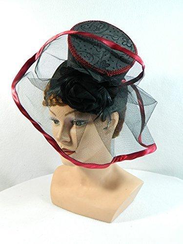 Midi Zylinder schwarz bordeaux Fascinator Damenhut Hütchen