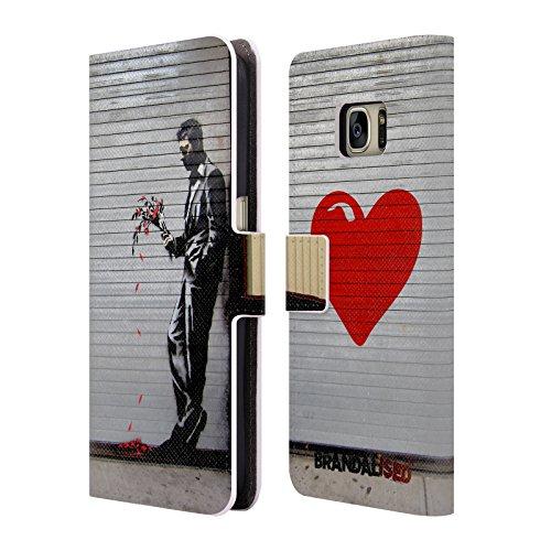 Head Case Designs Offizielle Brandalised The Hustler Banksy Kunst Street Tag Brieftasche Handyhülle aus Leder für Samsung Galaxy S7 (Leder Hustler)
