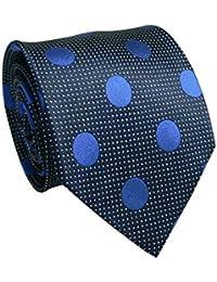 Landisun 209 Marine Bleu Polka Dots Mens soie Tie Set: Tie mouchoir Boutons de manchette