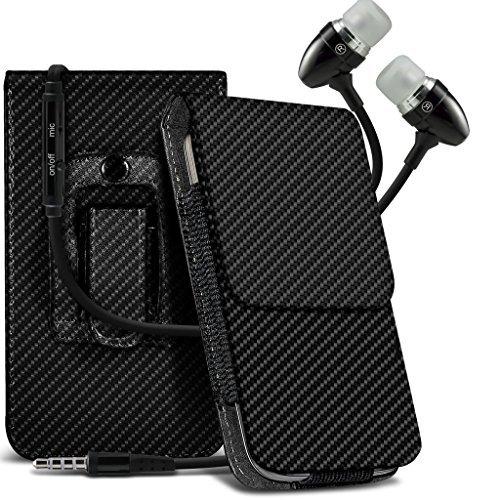 Preisvergleich Produktbild N4U Online - Microsoft Lumia 640 XL Karbonfaser Tasche Gürtel Holster Schutzhülle Handytasche & Freisprecheinrichtung Mit Mikrofon