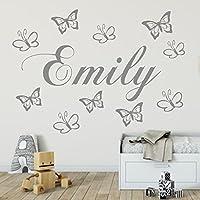 Wandtattoo Kinderzimmer personalisiert Wunsch Namen mit 10 Schmetterlingen Jungen.Mädchen Wandaufkleber Baby Anfertigung 21 Farben