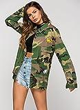 Escalier Frauen Taschen camouflage Military Vintage Jacken Mantel Denim Armee Gr¨¹n - 3