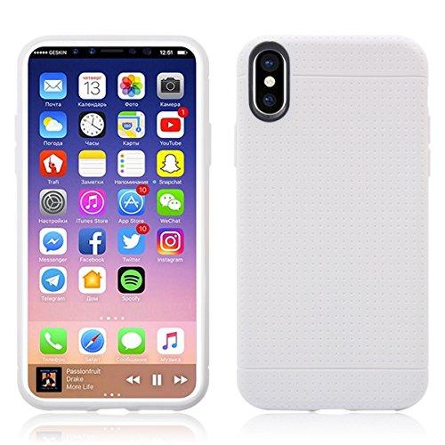 iPhone X Handycover, MOONMINI für iPhone X Ultra dünn Premium Bruchsicher Anti-Kratzer Schutzschale Soft TPU Silikon Stoßfest Handy Tasche Anti-Drop Full Body Schutzhülle Blau Weiß