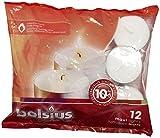 Bolsius Maxi-Teelichter, für Innen- und Außenbereich, 10 Stunden Brenndauer, 24 x 60 mm, 12 Stück, weiß