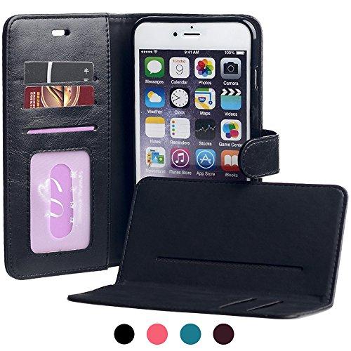 """iPhone 6 Plus Schutzhülle 6S Plus Hülle, 5.5"""" SHANSHUI Kunstleder Geldbörse Style Handyhülle Brieftasche case mit Kartenfach für Kredit Karten und Geldschein (Blau) Schwarz"""