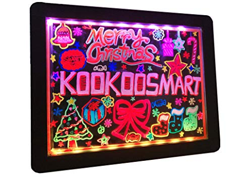 Kookoosmart LED Glow Art Drawing Board tablero iluminado borrable en negro con 36 efecto brillante con 6 marcadores fluorescentes para que los niños dibujen en la escuela el hogar los viajes y más.