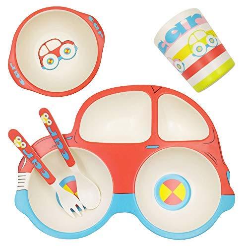 ASBYFR Kinder Geschirr Set aus Bambus 5 teilig, Kindergeschirr Set, Bambus Besteck Set Genehmigt von der FDA, Sicher Kinder Besteckset BPA Frei und Spülmaschinenfest (Auto)