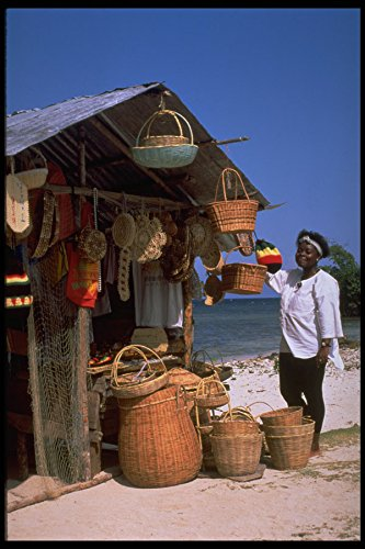 Jamaica Bay (714050 Basket Stall Runaway Bay Jamaica A4 Photo Poster Print 10x8)