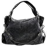 GIANNI Damen Handtasche gross XXL Designer Look Basic Schultertasche Schwarz Grau Braun (Schwarz)