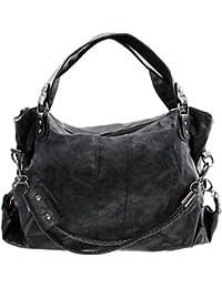83d3b569fdd15 GIANNI Damen Handtasche gross groß Schultertasche Umhängetasche Shopper Bag  XXL schultasche tasche taschen Schwarz Grau Braun…