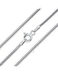 SILVEGO - Cadena serpiente de plata de ley 925, anchura 1,3 mm