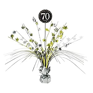 Amscan International - 9901709 45 cm oro celebración 70th Centrepiece spray