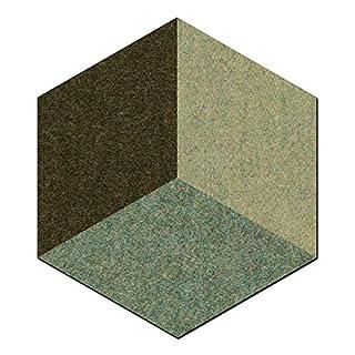 FrankenArt Akustikschaumstoff 3D PolySound Akustik Schaumstoffe aus Basotect® WollFilz Stoff - kaschiert in Hexagon-Form mit 3D Muster Größe S - Durchmesser Ø20cm Dicke: 3cm in Blassgrün