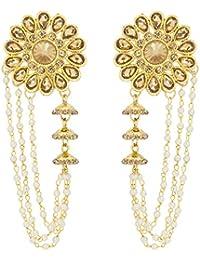 The Luxor Gold Plated Pearls Tassel Bahubali Jhumki Earrings For Women And Girls (ER-1776)