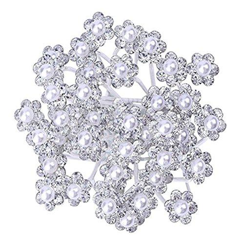 Drawihi 20 Stück Haarnadeln Braut Perle Haarschmuck Damen Strass Haarspange Verwendet für Hochzeit, Party, Bankett Dekoration