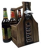 khegva Flaschenkorb aus Holz mit Öffner - Bierträger 6 Flaschen