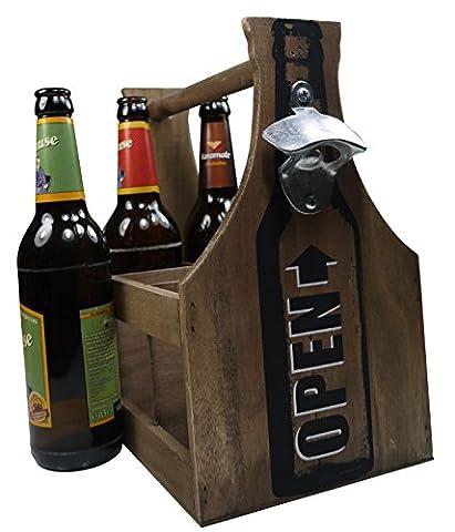Ouverture de khegva Panier à bouteilles en bois avec–Bière–6bouteilles