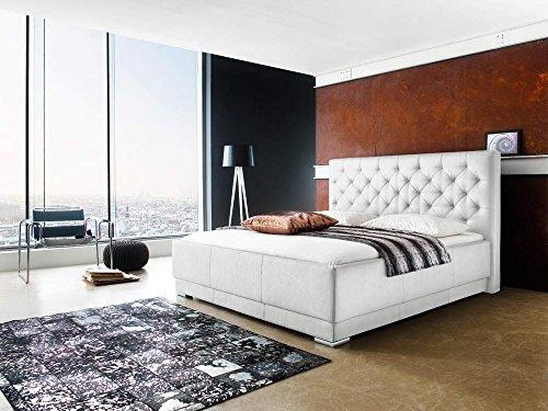 lifestyle4living Polsterbett in Boxspring-Optik mit Kunstlederbezug in weiß, gestepptes Kopfteil, Füße in Chromoptik, Liegefläche: ca. 180 x 200 cm