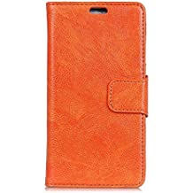 Danallc for Samsung Galaxy S8 Active Genuine Leather Wallet Case Cover, Flip Stand, Card Slot, Stylish, Orange