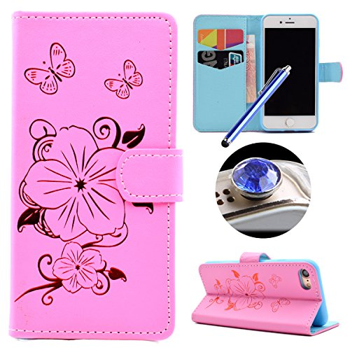 Etsue iPhone 7 Cover,iPhone 7 Custodia in Pelle Portafoglio Oro Gold Fiori Bella Modello Artificiale Leather Pu Puro Wallet/Libro/Flip Antigraffio Bumper Protettiva Case Cover Morbida Flessible Tpu In Lusso1