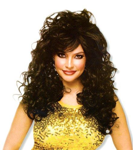 noir perruque de cheveux longs bouclés