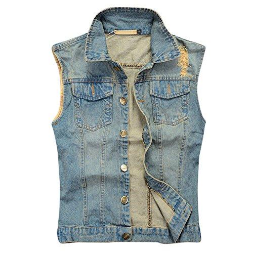 MISSMAOM Uomo Giacca Denim Vintage Cappotto Jeans Senza Maniche Giacca Giubbotto Smanicato Blu 2XL