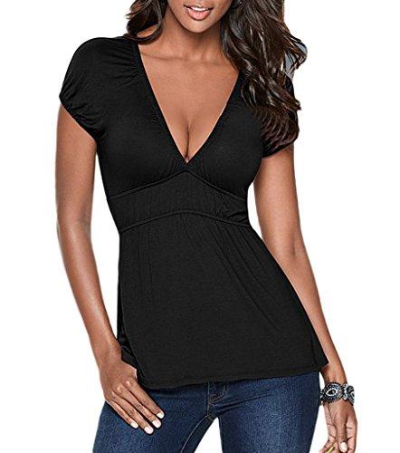 Bigood Femme Sexy Col V Foncé T-shirt Manche Courte Décolleté Casual Noir