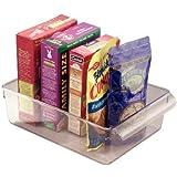 iDesign boîte de rangement à poignée, grand bac plastique pour le placard, le frigo ou le tiroir, bac alimentaire sans couver