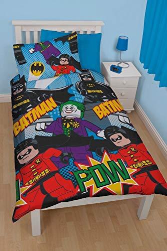 Superhelden-Bettbezug, DC Comic Charakter, Lego-Batman, wendbar, für Einzelbett für Kinder, Jungen, blau, Einzelbett (Lego Dc Superhelden Sets)