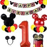 JOYMEMO Les Fournitures de Fête de Mickey Mouse pour Le Premier Anniversaire Comprennent des Bannières, des Ballons en Aluminium de Numéro 1 et des Bandeaux d' Oreilles