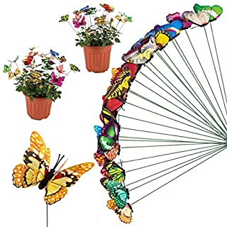 ANPHSIN 25 Pieces Various Plastic 3D Butterfly Stakes for Garden and Patio Decoration