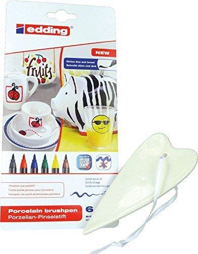 SET: Porzellan-Herz - ca. 5,5 x 12,5 cm + Edding 4200 Porzellan-Pinselstifte bunte Farben (6 Stifte) - für kreatives Basteln zu Hause