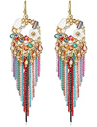 Jewels Galaxy Copper Drop Earrings for Women (Multi-Colour)(ERG-2437)