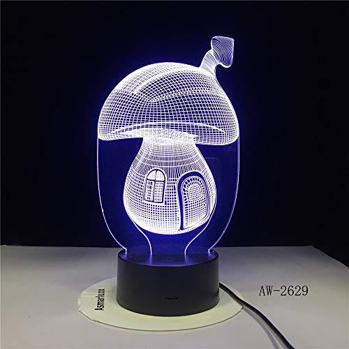 yuandp Märchen-Pilz-Haus 3D Karikatur-Nette Illusion LED mit 7 Farben Nachtlicht-Stimmungs-Lampen-Beleuchtungs-Spielzeug-Geschenke -