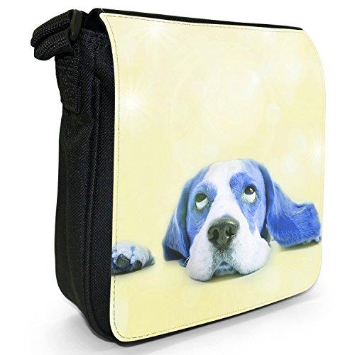 Stars In The Beagles'Eyes-Borsa a tracolla In tela, piccola, colore: nero, taglia: S Nero (Blue Beagle Looking At Stars)
