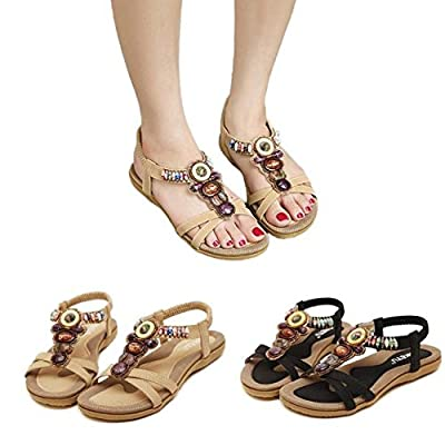zarupeng✦‿✦Zapatos de Estilo étnico Bohemio de Moda para Mujer, Color Vintage con Cuentas Pisos Sandalias de Playa por zarupeng