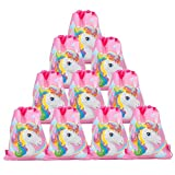 Zhongjiany - Confezione da 12 sacchetti con chiusura a cordoncino, motivo unicorno, per feste