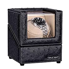 TRIPLE TREE Watch Winder, with Soft and Flexible Watch Pillows,Wooden Shell, Powered by Japanese Motor, Built-in Blue LED Illumination for Rolex Automatic Watches (for 1 watche)