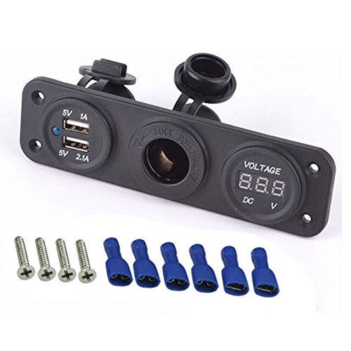 Magicmoon 12 V universale 3 in 1 con presa per accendisigari USB adattatore Dual Power Voltmetro digitale a LED, per Auto, barca, moto equitazione tosaerba trattore-rimorchio da viaggio Camper - Dock Barca Parti
