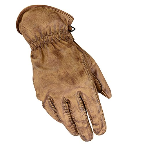 BOSmoto Motorrad Handschuhen Racing Kevlar gewachst Leder Handschuhe Wachs (XXL, Wachs Braun)