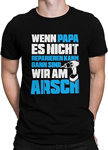vanVerden Herren Fun T-Shirt Papa Reparieren Vatertag Dad Geschenk Plus Geschenkkarte, Größe:XXL, Farbe:Schwarz/Blau (T-shirt Arsch Weißes)