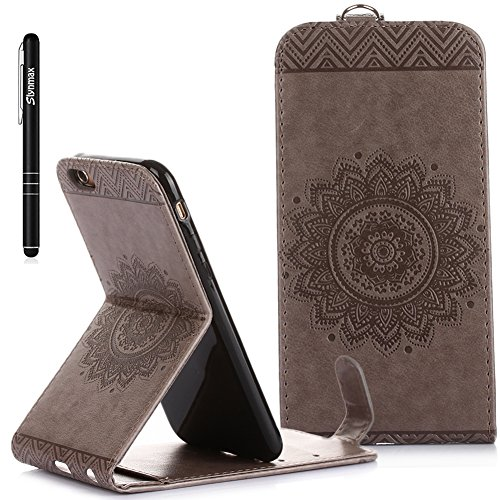iPhone 6S Custodia Flip,iPhone 6S Custodia in Pelle,Slynmax Stampato Copertura di Ccuoio Folio Cover in PU Dipinto Sintetica Ecopelle Guscio Wallet Case per Apple iPhone 6/6S 4.7 Protezione Caso Ultr Grigio