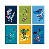 Ensemble de 6 affiches de dinosaures | 11x17 idéal pour décorer la chambre des enfants | Murales de dinosaures pour garçons | Dinosaures Enfants Affiches Ou Pépinière