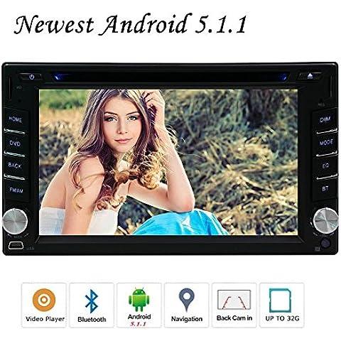 Vendita calda EinCar Android 5.1.1 Lollipop OS autoradio con 6.2 pollici capacitivo dello schermo di tocco Doppio Din Car DVD Video Audio Player Dash GPS unit¨¤ principale di navigazione per Wifi / Bluetooth / specchio link