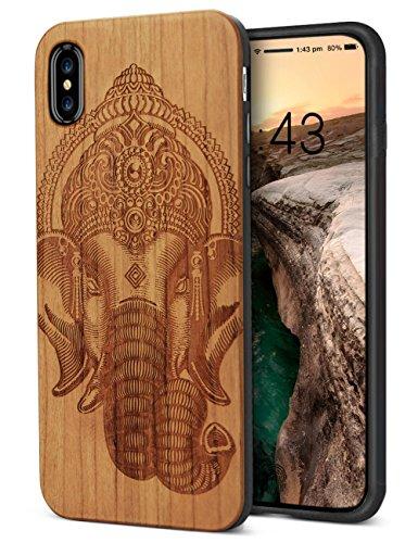 iPhone XS Wood Case iPhone x Telefon Koffer Elefanten Schnitzerei entwirft hölzerne Rückenabdeckung für iPhone x tiergesichter kratzfeste Stoß Dichte voll Abdeckung Ausschnitt aus Doppelschicht TPU schützen Holzkisten (5,8 Zoll)