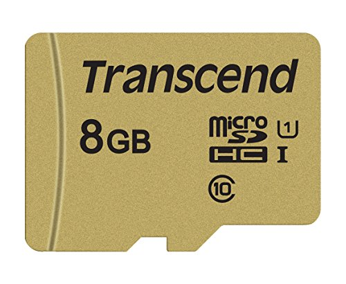 Transcend TS8GUSD500S-E 8GB Premium 500S microSDHC - Scheda di memoria con adattatore Class 10, U1, UHS-I (fino a 95 MB/s in lettura), confezione ecologica